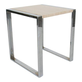 Mid-Century Modern Stainless Steel & Travertine Side Table For Sale