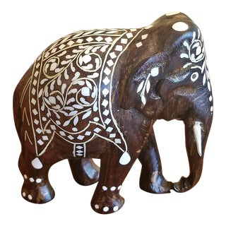 19c Anglo Indian Carved Rosewood and Bone Inlaid Elephant For Sale