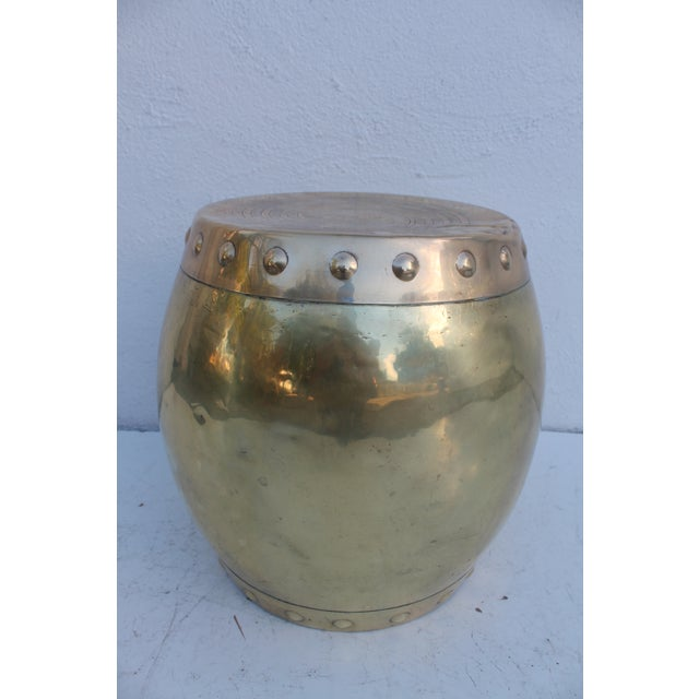Vintage Chinoiserie Brass Stool - Image 3 of 8