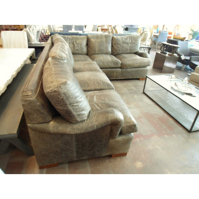 Kravet Olive Green Leather Sectional Sofa - Image 3 of 5