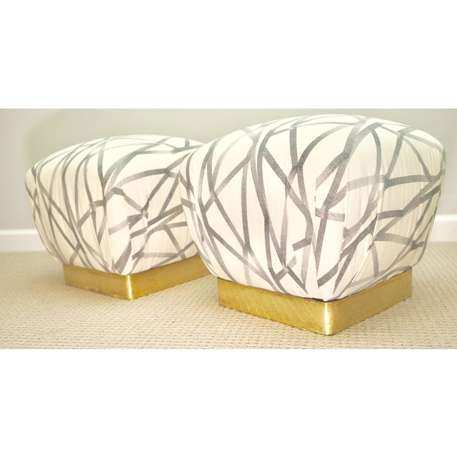 White Vintage Brass Base Marge Carson Poufs or Ottomans- a Pair For Sale - Image 8 of 8