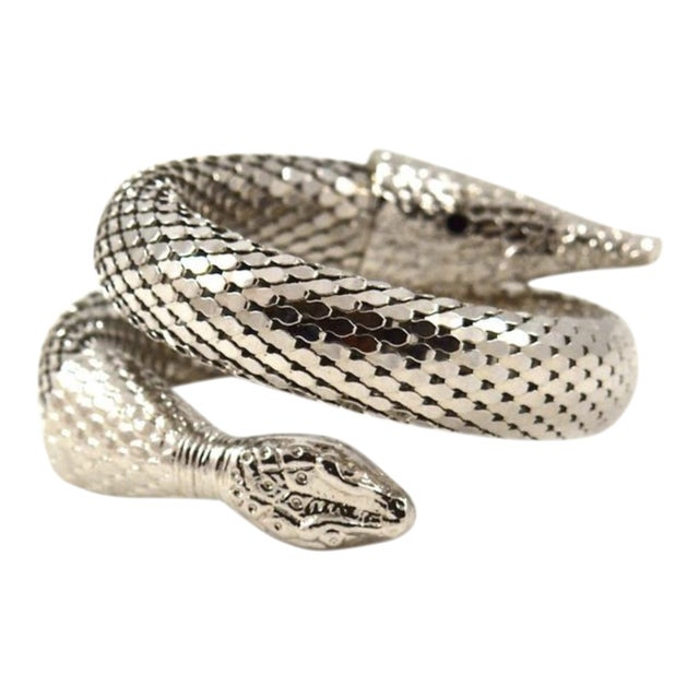 Whiting & Davis Silver Mesh Snake Cuff For Sale