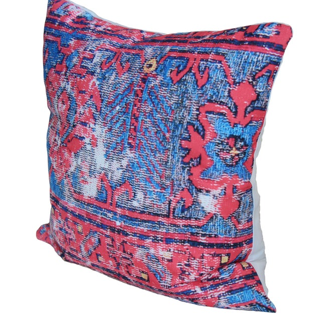 Boho Chic Red Distressed Turkish Rug Print Pillow For Sale - Image 3 of 7