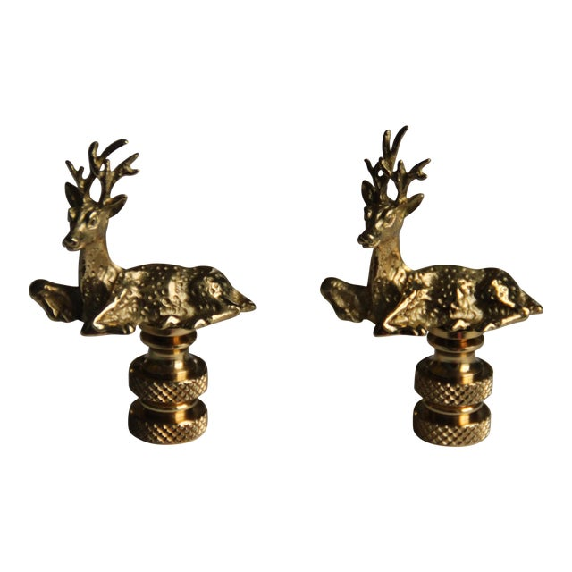 Brass Deer Lamp Finials - A Pair - Image 1 of 3