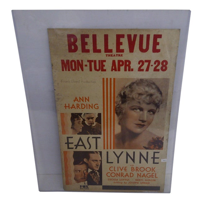 """Bellvue Theatre Poster, """"East Lynne,"""" 1931 For Sale"""