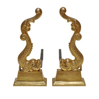19th Century Brass Baroque Dolphin Andirons For Sale