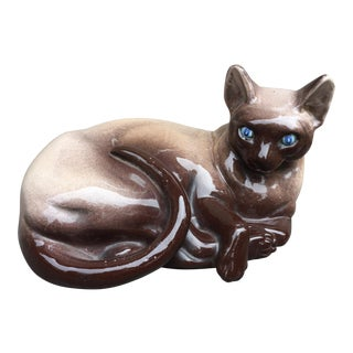 1960's Hand Painted Animalia Italian Porcelain Siamese Cat Figurine For Sale