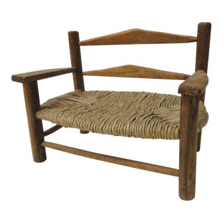 Vintage Artisanal Decorative Child's Play Bench With Rush-Seat For Sale