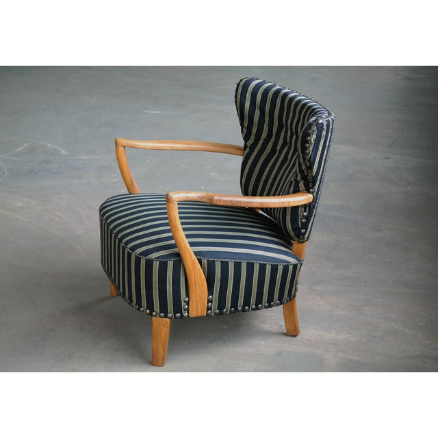 Metal Otto Schulz Style Lounge Chair in Oak With Brass Tacks Danish Midcentury For Sale - Image 7 of 11