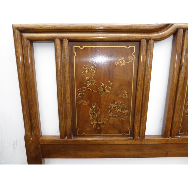 Vintage Drexel Heritage Mid-Century Modern Floral Chinoiserie King Headboard - Image 7 of 11