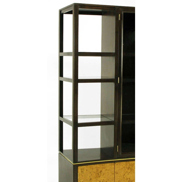 Metal Edward Wormley Walnut & Olive Ash Burl Tall Cabinet For Dunbar For Sale - Image 7 of 11