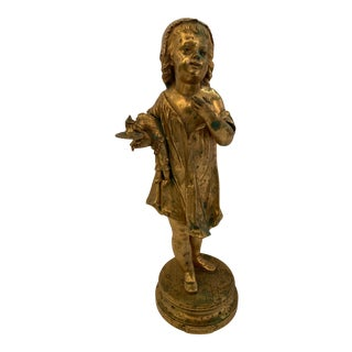 French Antique Figurative Sculpture of Girl by Charles Masse For Sale