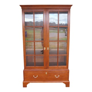 "Stickley Colonial Williamsburg Cherry Chippendale Style 2 Door Bookcase ""B"" For Sale"