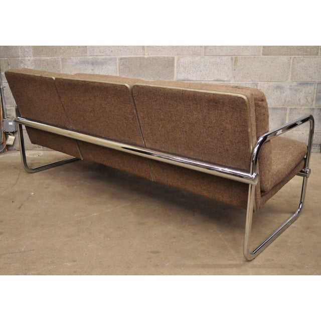 Brown Milo Baughman Style Sofa by United Chair For Sale - Image 8 of 12