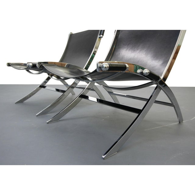 Italian Chrome & Leather Sling Scissor Chairs - A Pair - Image 5 of 8
