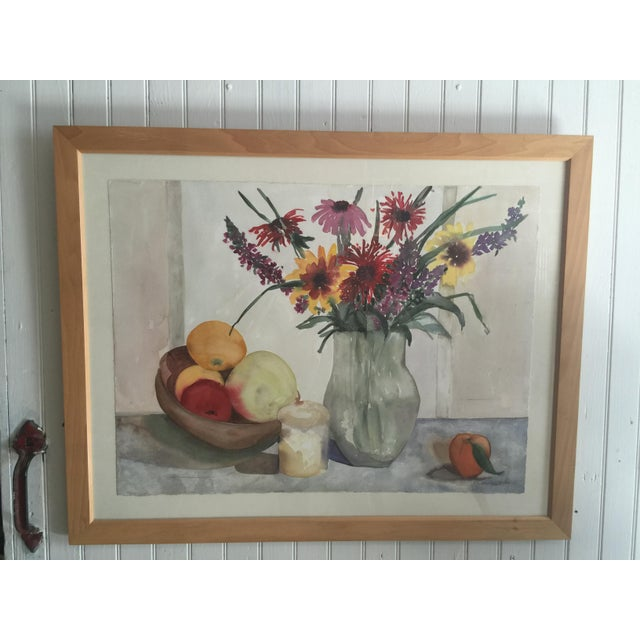 Pretty Flower Still-life by well known Woodstock artist on handmade paper. By Christine Brunte Lecomte.