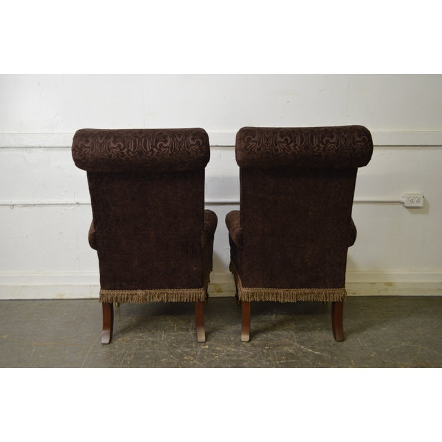 STORE ITEM #: 16040-fwmr Drexel Pair of High Back Upholstered Host Arm Chairs AGE/COUNTRY OF ORIGIN – Approx 15 years,...