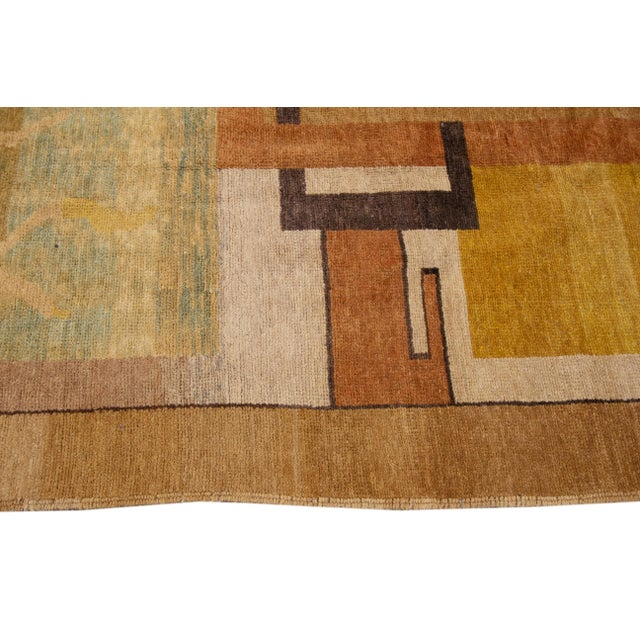 1990s Vintage Art Deco Style Square Wool Rug For Sale - Image 5 of 13