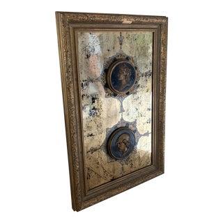 Vintage Framed Egloisme Mirrored Glass and Plaster Portrait Medallions For Sale