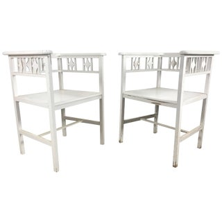 White Painted Austrian Cube Chairs in the Manner of Josef Hoffmann - a Pair For Sale