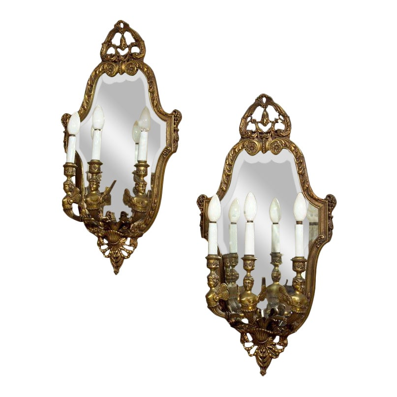 Lovely Neoclassical Bronze Wall Sconces A Pair Decaso