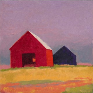 Two Small Barns, Original Oil on Canvas