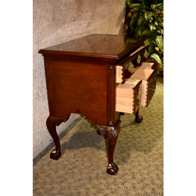 Vintage Chippendale Councill Craftsmen Carved Mahogany Lowboy For Sale - Image 10 of 13