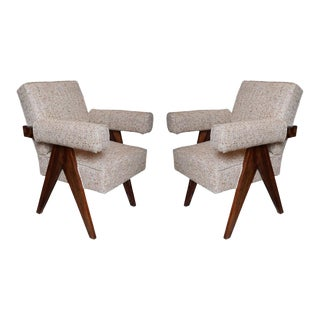A Pair of Jeanneret Armchairs Re-Edition, India 2016