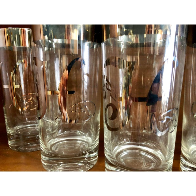 1950s Mid-Century Silver Rimmed Glasses, Set of 6 For Sale - Image 5 of 7