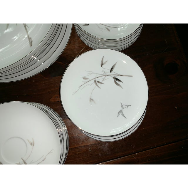 Wood Sango Bamboo Knight Grey Bamboo Platinum Trim-Partial Dinnerware Set - 41 Plates, Reduced For Sale - Image 7 of 12