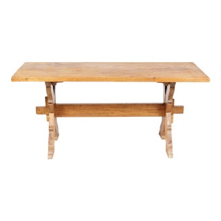 French Country-Style Trestle Table For Sale