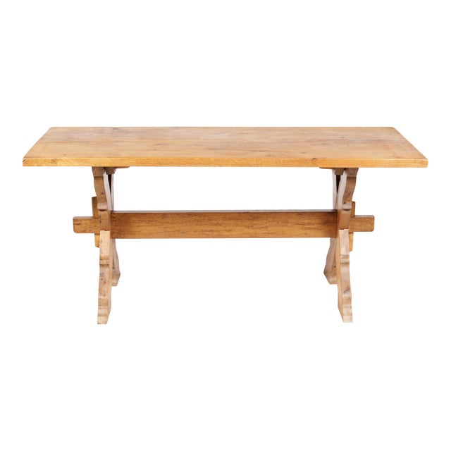 French Country-Style Trestle Table - Image 1 of 8