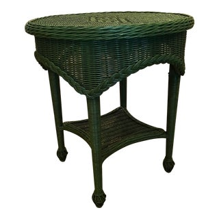 Vintage Farmhouse Green Wicker Table For Sale