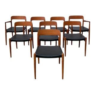 1960s Vintage Pristine Teak Niels Moller #75 Chairs - Set of 8 For Sale