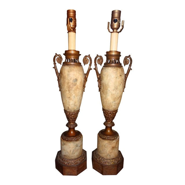 19th Century French Tole and Brass Lamps - a Pair For Sale