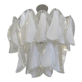 Large Mazzega Murano Petal Chandelier For Sale