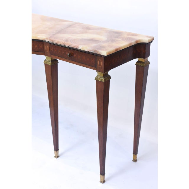 Gold Pair of Italian Modern Walnut and Fruitwood Marquetry Inlaid Onyx Top Consoles For Sale - Image 8 of 9
