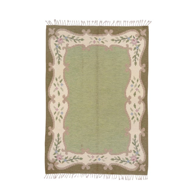 Light Green Scandinavian Flatweave Rollaken Rug, Open Green Field For Sale - Image 8 of 8