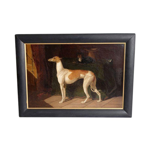 Early 19th Century English Whippet Oil Painting For Sale