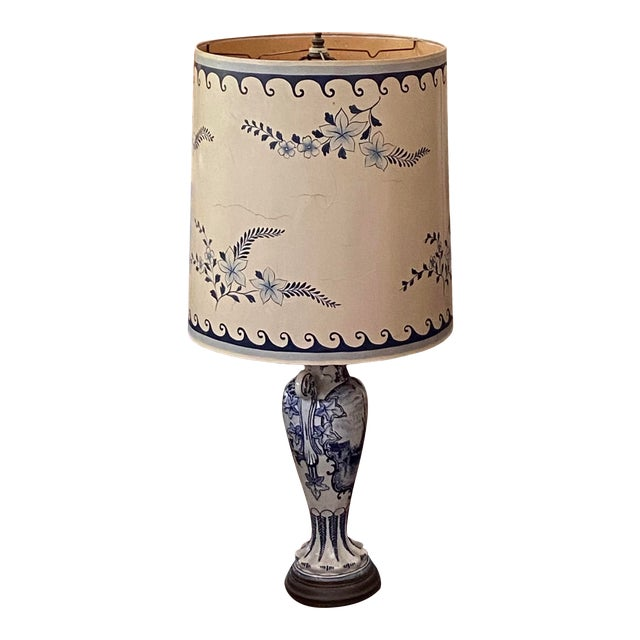 1950s Venetian Chinoiserie Lamp With Painted Shade For Sale