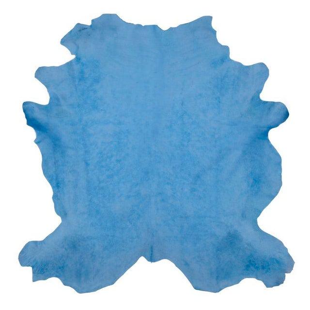 Boho Chic Celeste Blue Cow Hide Rug - 7′ × 8′ For Sale - Image 3 of 3