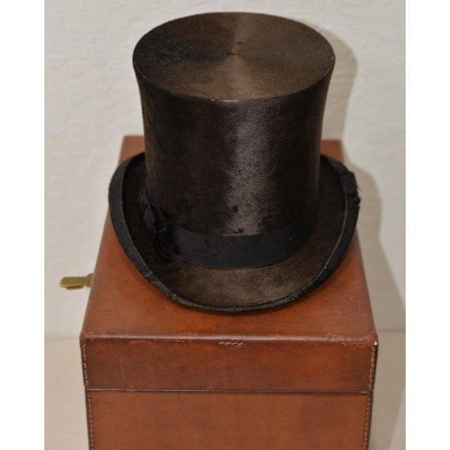 1800s Dunlap & Co. Top Hat & Leather Hat Box by Collins & Fairbanks Co. Fabulous American Victorian top hat w/ beautiful...