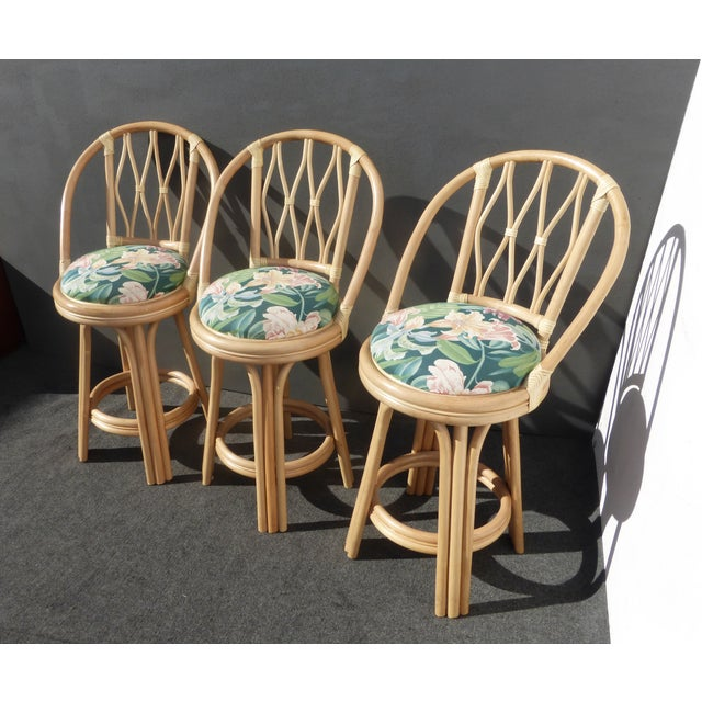 Mid-Century Faux Bamboo Bar Stools - Set of 3 - Image 4 of 11