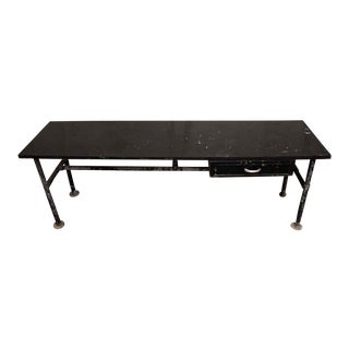 Wood Top Black Metal Work Table