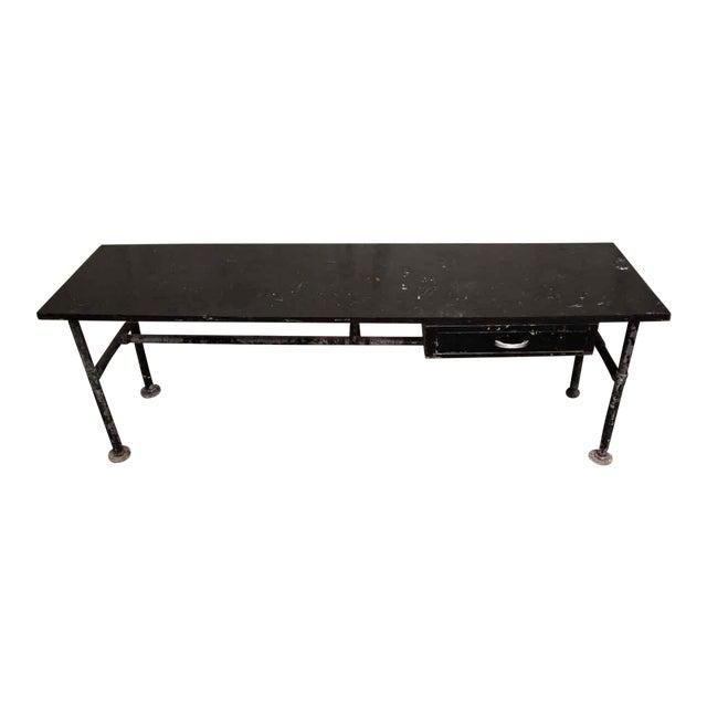 Wood Top Black Metal Work Table For Sale