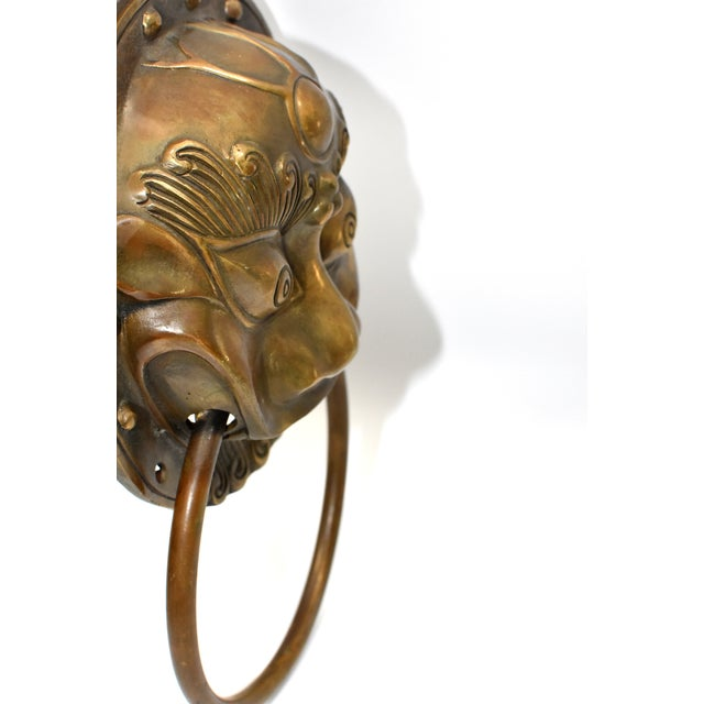 Late 20th Century Beast Motif Brass Knockers- a Pair For Sale In Los Angeles - Image 6 of 13