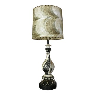 White and Black Midcentury Modern Table Lamp With Shade For Sale