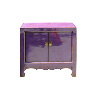Oriental Simple Purple Lacquer Credenza Sideboard Buffet Table Cabinet