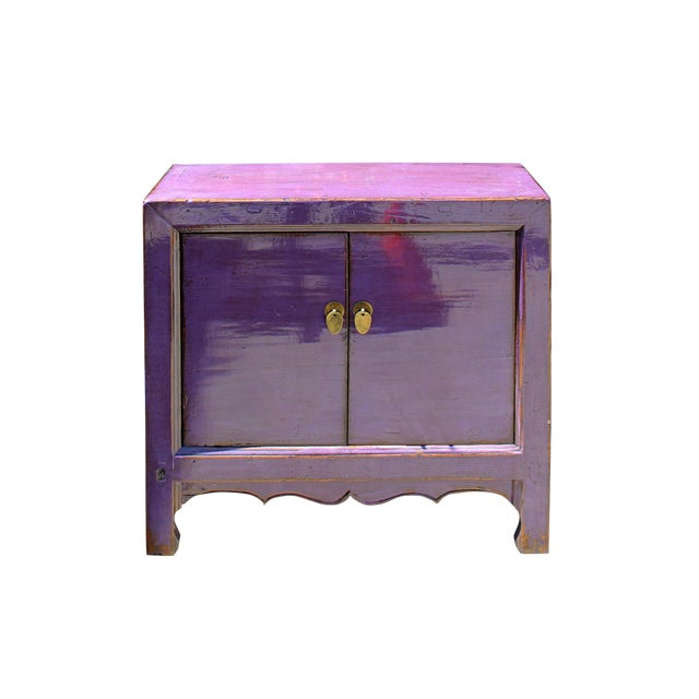 Oriental Simple Purple Lacquer Credenza Sideboard Buffet Table Cabinet For Sale