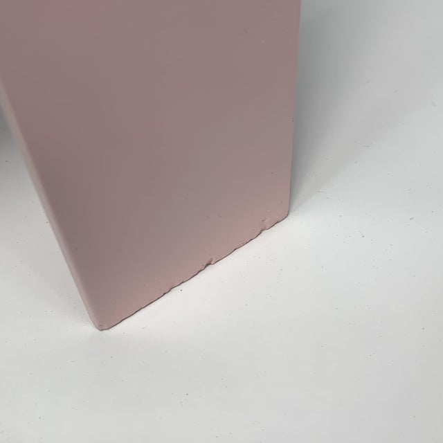 Pink Memphis Inspired Pastel Parson Style Side Table For Sale - Image 8 of 10